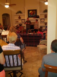 Our whole group in Bob and Dallas Creson's living room, hearing them share their heart