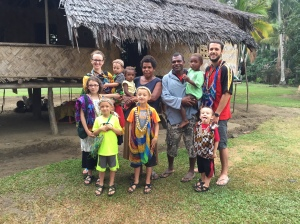 With Wasmama, Waspapa, and two of their grandchildren, in front of the house we stayed in
