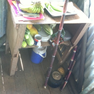 Some of the food gifts: bananas, cucumbers, pineapple, sugarcane