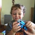 Silas enjoying his birthday trains