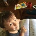 Zeke acing his reading lesson