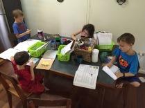 A normal morning, hard at work homeschooling