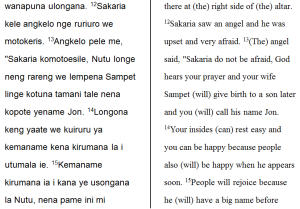 A section of our Luke 1 draft, with the back translation in parallel